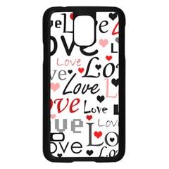Love pattern - red Samsung Galaxy S5 Case (Black) by Valentinaart