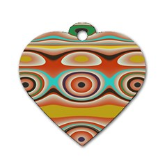 Oval Circle Patterns Dog Tag Heart (two Sides) by theunrulyartist