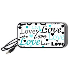 Love Pattern   Cyan Portable Speaker (black)  by Valentinaart