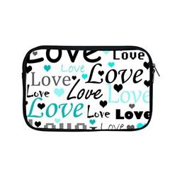 Love pattern - cyan Apple MacBook Pro 13  Zipper Case by Valentinaart