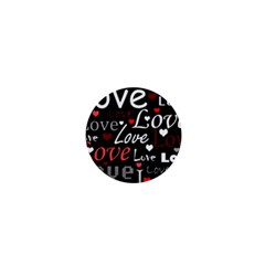 Red Love Pattern 1  Mini Buttons by Valentinaart