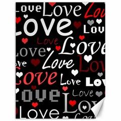 Red Love pattern Canvas 12  x 16   by Valentinaart