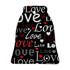 Red Love Pattern Bell Ornament (2 Sides) by Valentinaart