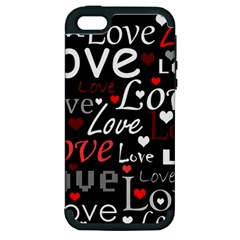 Red Love Pattern Apple Iphone 5 Hardshell Case (pc+silicone) by Valentinaart