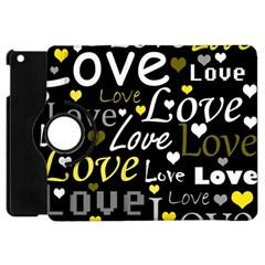 Yellow Love Pattern Apple Ipad Mini Flip 360 Case by Valentinaart