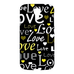 Yellow Love Pattern Samsung Galaxy S4 I9500/i9505 Hardshell Case by Valentinaart