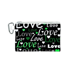 Green Valentine s Day Pattern Canvas Cosmetic Bag (s) by Valentinaart