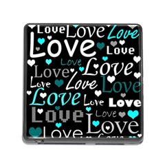 Valentine s Day Pattern   Cyan Memory Card Reader (square) by Valentinaart