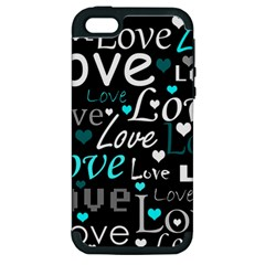Valentine s Day Pattern   Cyan Apple Iphone 5 Hardshell Case (pc+silicone) by Valentinaart