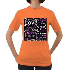 Valentine s day pattern - purple Women s Dark T-Shirt by Valentinaart