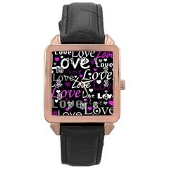 Valentine s Day Pattern   Purple Rose Gold Leather Watch  by Valentinaart