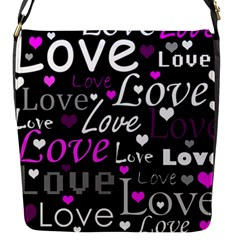 Valentine s Day Pattern   Purple Flap Messenger Bag (s) by Valentinaart