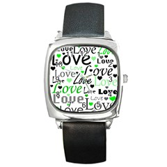 Green  Valentine s Day Pattern Square Metal Watch by Valentinaart