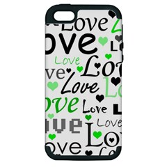 Green  Valentine s Day Pattern Apple Iphone 5 Hardshell Case (pc+silicone) by Valentinaart