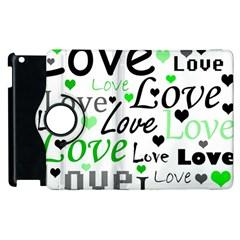 Green  Valentine s Day Pattern Apple Ipad 2 Flip 360 Case by Valentinaart
