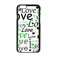 Green  Valentine s Day Pattern Apple Iphone 6/6s Black Enamel Case by Valentinaart
