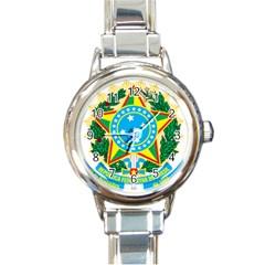 Coat Of Arms Of Brazil, 1971 1992 Round Italian Charm Watch by abbeyz71