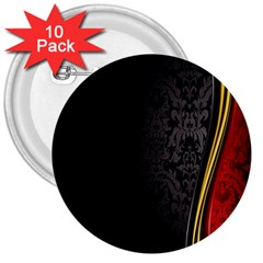 Black Red Yellow 3  Buttons (10 Pack)  by AnjaniArt