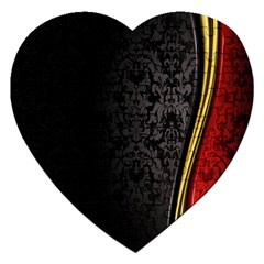 Black Red Yellow Jigsaw Puzzle (heart) by AnjaniArt