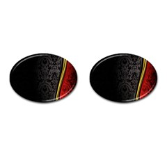 Black Red Yellow Cufflinks (oval) by AnjaniArt