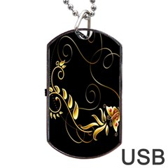 Butterfly Black Golden Dog Tag Usb Flash (two Sides)  by AnjaniArt