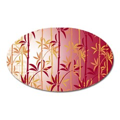 Bamboo Tree New Year Red Oval Magnet by AnjaniArt