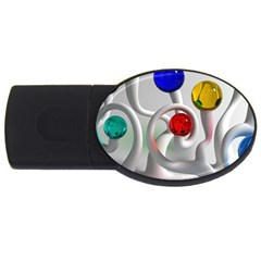 Colorful Glass Balls Usb Flash Drive Oval (2 Gb)  by AnjaniArt