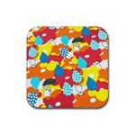 Bear Umbrella Rubber Square Coaster (4 pack)