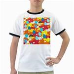 Bear Umbrella Ringer T-Shirts