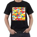Bear Umbrella Men s T-Shirt (Black) (Two Sided)