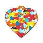 Bear Umbrella Dog Tag Heart (Two Sides)