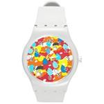 Bear Umbrella Round Plastic Sport Watch (M)