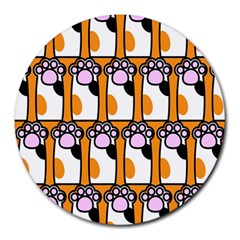 Cute Cat Hand Orange Round Mousepads by AnjaniArt