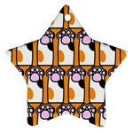 Cute Cat Hand Orange Ornament (Star)