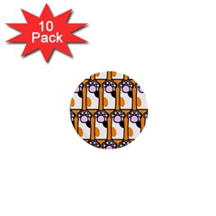 Cute Cat Hand Orange 1  Mini Buttons (10 Pack)  by AnjaniArt