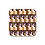 Cute Cat Hand Orange Rubber Coaster (Square)