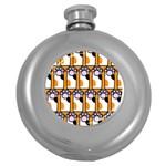 Cute Cat Hand Orange Round Hip Flask (5 oz)