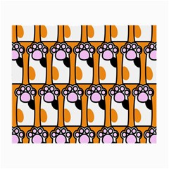 Cute Cat Hand Orange Small Glasses Cloth (2 Side) by AnjaniArt