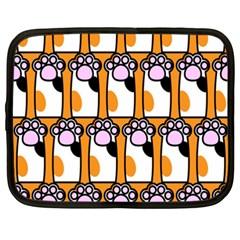 Cute Cat Hand Orange Netbook Case (xxl)  by AnjaniArt