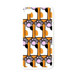 Cute Cat Hand Orange Apple Iphone 4 Case (white) by AnjaniArt