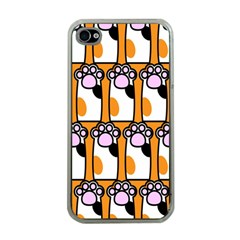Cute Cat Hand Orange Apple Iphone 4 Case (clear) by AnjaniArt