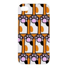 Cute Cat Hand Orange Apple Iphone 4/4s Premium Hardshell Case by AnjaniArt