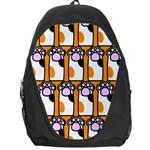 Cute Cat Hand Orange Backpack Bag