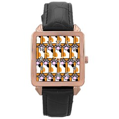 Cute Cat Hand Orange Rose Gold Leather Watch  by AnjaniArt