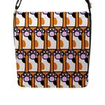 Cute Cat Hand Orange Flap Messenger Bag (L)