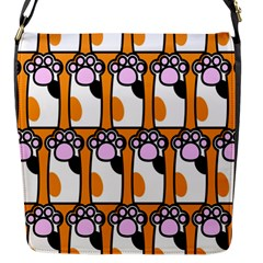 Cute Cat Hand Orange Flap Messenger Bag (s) by AnjaniArt