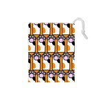 Cute Cat Hand Orange Drawstring Pouches (Small)