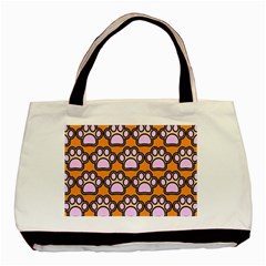 Dog Foot Orange Soles Feet Basic Tote Bag by AnjaniArt