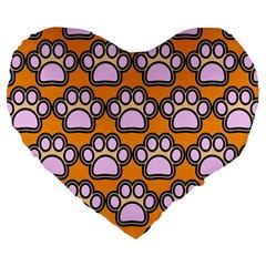 Dog Foot Orange Soles Feet Large 19  Premium Flano Heart Shape Cushions by AnjaniArt