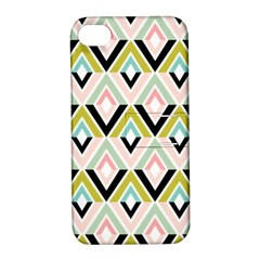 Chevron Pink Green Copy Apple Iphone 4/4s Hardshell Case With Stand by AnjaniArt